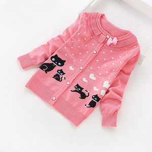 Image 3 - 2016 new children cardigans girls lovely cotton sweaters 3 16 years fashion cotton cardigan 8518