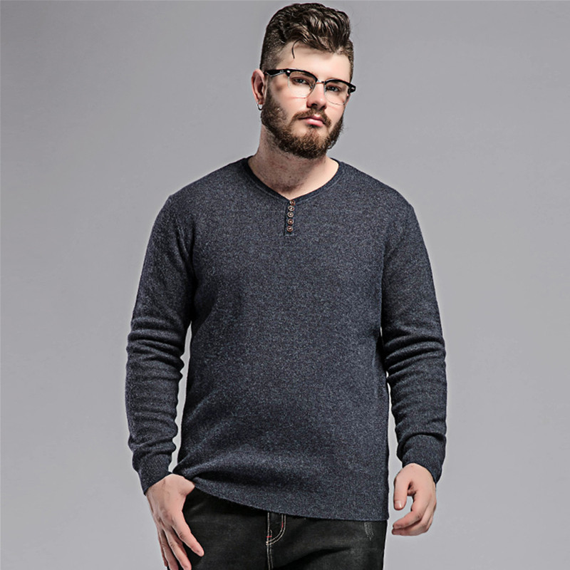Plus size 10XL 8XL 6XL 5X 2017 new autumn knitted pullovers Sweater man,Cotton black kha ...