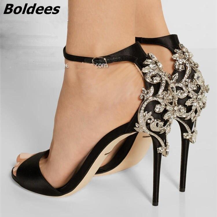 New Elegant Design Black Silk Peep Toe Stiletto Heel Sandals Gorgeous Cut-out Crystal Stick Decorated Thin Heel Dress Sandals elegant women s sandals with suede and stiletto heel design