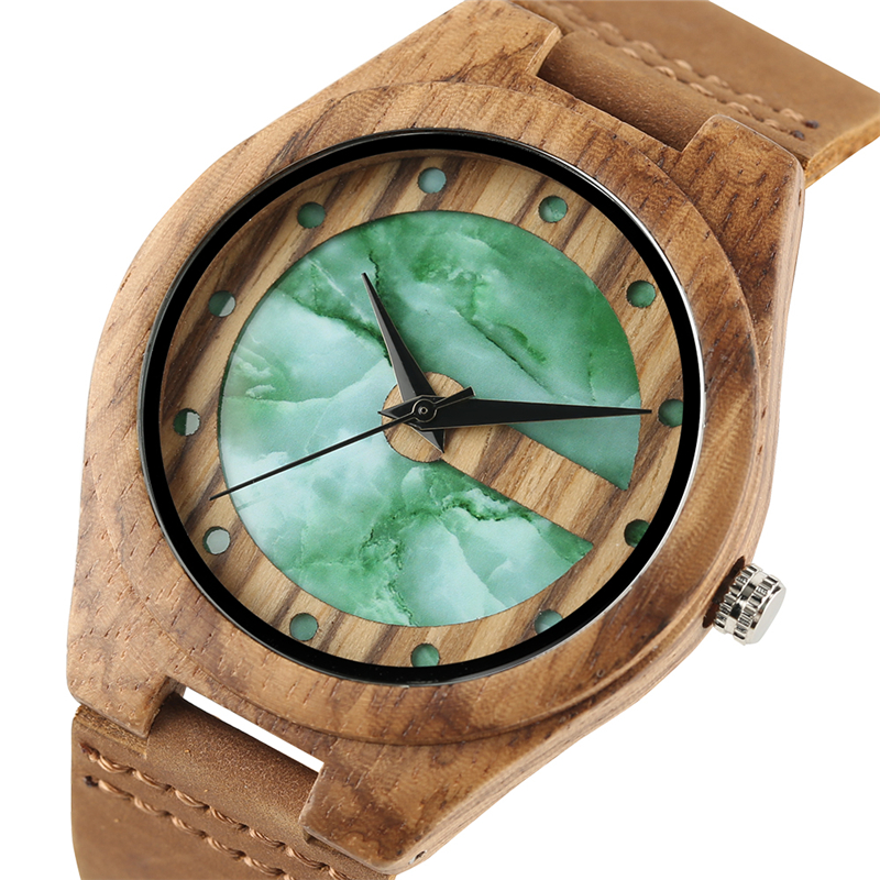 Bamboo Quartz Men Handmade Luxury Nature Wood Women Genuine Leather Band Strap Double Green/White Dots Dial Gift Wrist Watch simple handmade wooden nature wood bamboo wrist watch men women silicone band rubber strap vertical stripes quartz casual gift