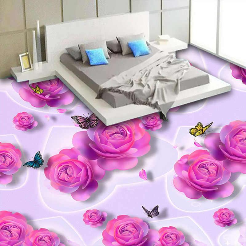 Papel pintado de azulejos de suelo 3D personalizado romántico Rosa Flores mariposa moda murales pegatina dormitorio baño PVC suelo papel pintado