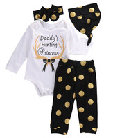 3PCS Newborn Baby Girls Boy Long SleeveTops Romper Polka Dot Legging Pants Hat Outfits Clothes Set