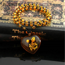 BOEYCJR Vintage Resin Heart Necklace Handmade Ethnic Flower Long Pendant Necklace Beads Necklace for Women Christmas Gift