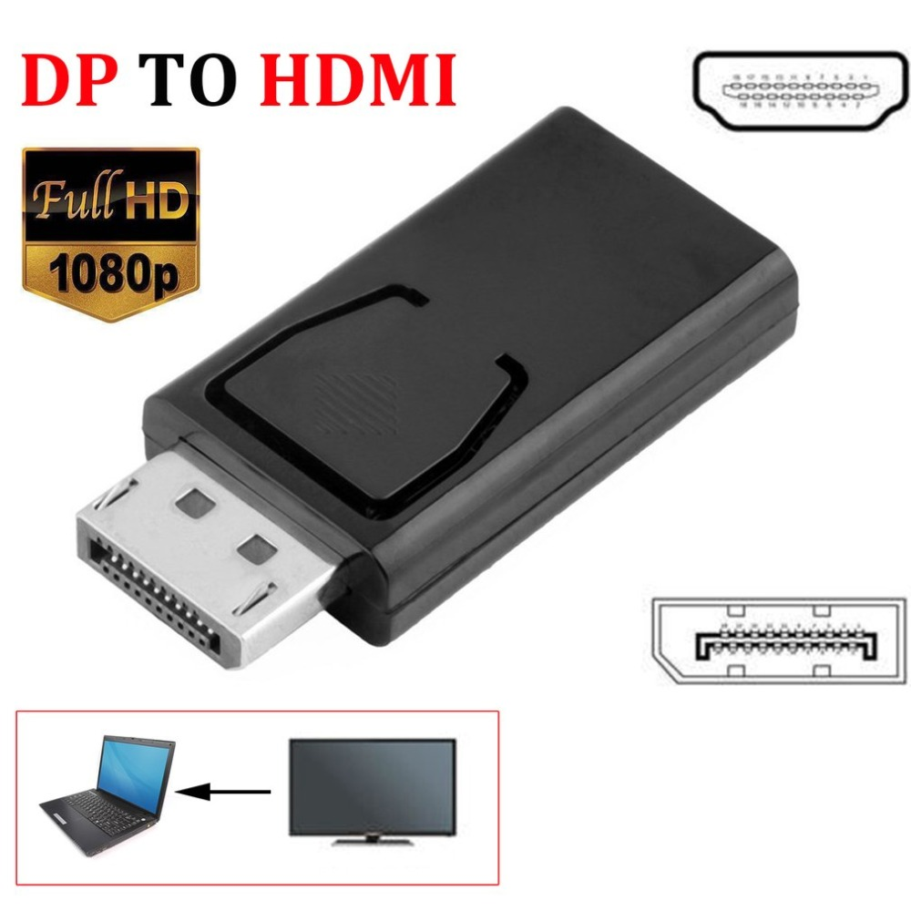 DP to HDMI Adapter DisplayPort to HDMI Display Port Male Female Converter Cable Adapter Video Audio Connector for HDTV PC