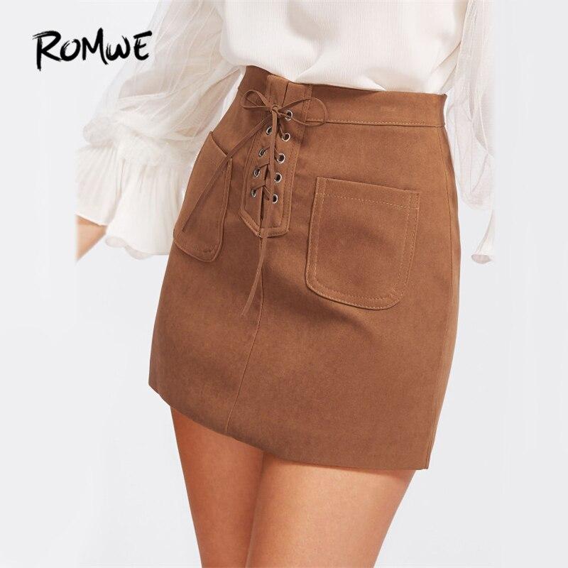17fe3664d34f4 US $14.99 45% OFF ROMWE Grommet Lace Up Mini Skirt Khaki Cute A Line Women  Casual Dual Pocket Autumn Skirts 2019 Fashion Brief High Waist Skirt-in ...