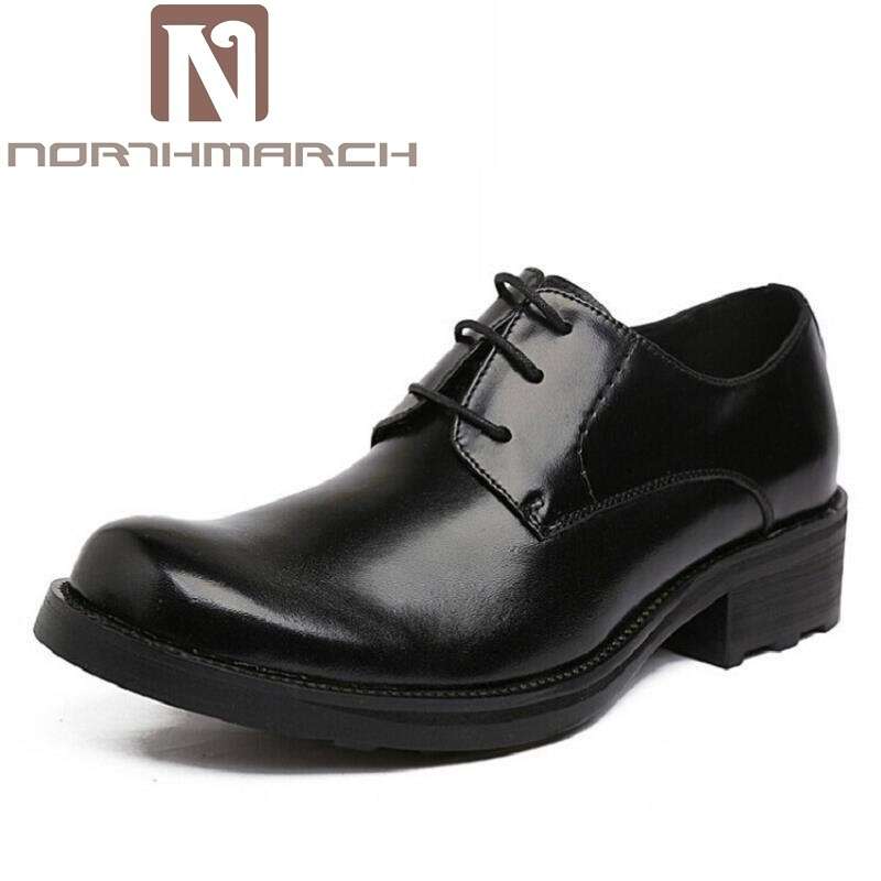 NORTHMARCH Genuine Leather Mens Shoes Top Quality Oxford Shoes Men Lace Up Business Brand Men Wedding Shoes Sapato Masculino цена