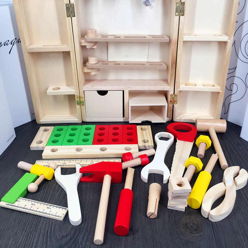 Развивающий строительный инструмент, набор для детей, для раннего обучения, деревянная игрушка, модель, инструменты для ремонта дерева, детские игрушки для ролевых игр