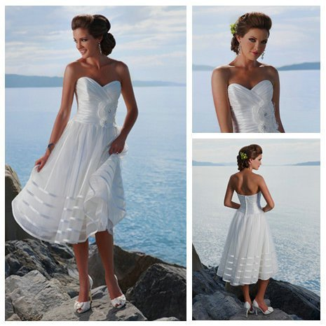 3d6273cc917 Tea Length White Organza Sweetheart Handmade Flowers Short Casual Beach  Wedding Dresses A776