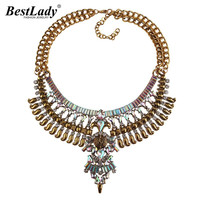 Ladyfirst 2016 New Hot Statement Necklaces AB Color Pendant Collier Femme Gem Choker Big Vintage Maxi