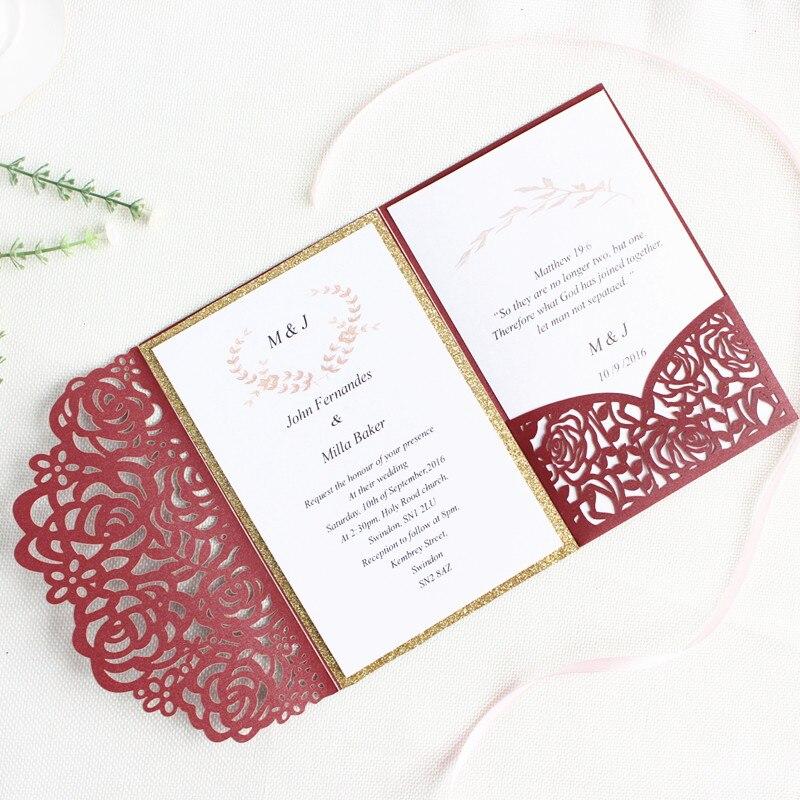 Rose Wedding Invitation Card Pocket