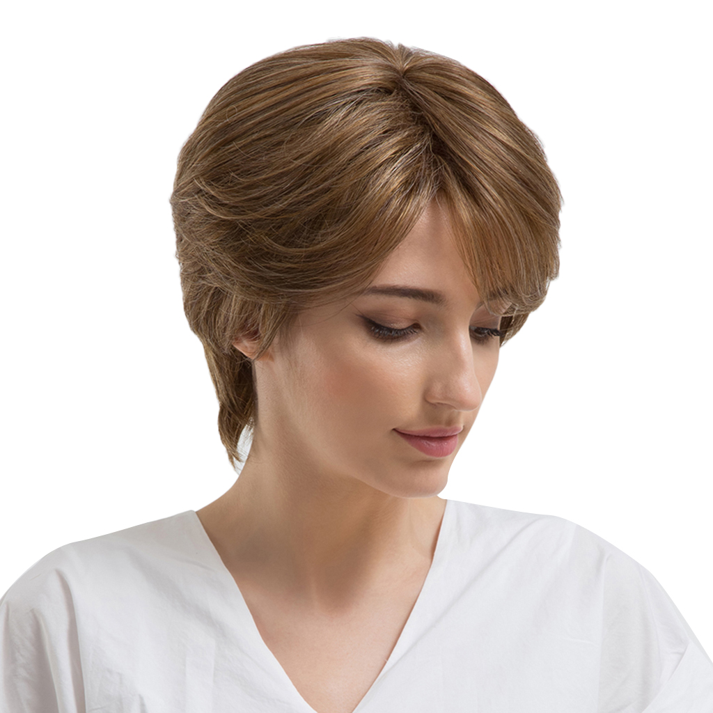 Women Natural Short Curly Wig Human Hair Brown Pixie Cut Wigs with Side Bangs stylish short capless side bang synthetic fluffy brown highlight curly bump wig for women