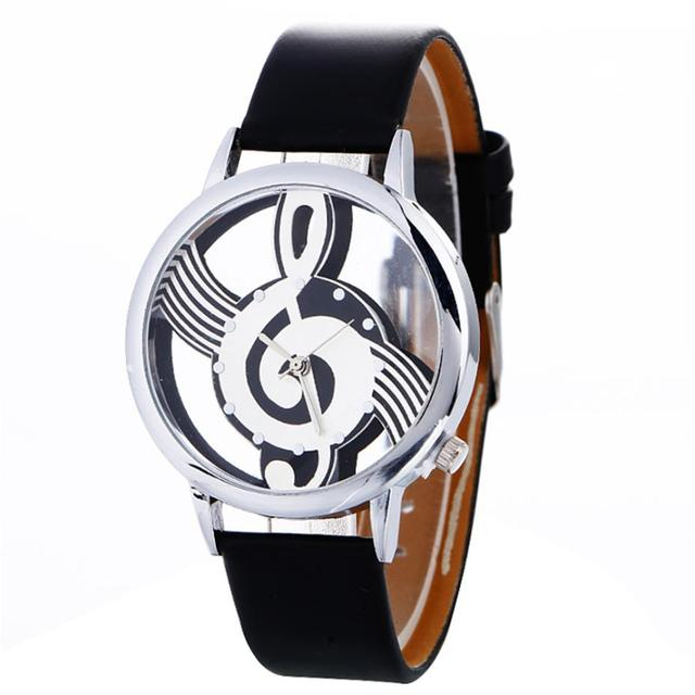stylish Musical Note Painting Leather Bracelet Lady Womans Wrist Watches simple casual Engraving Hollow lady bracelet watches