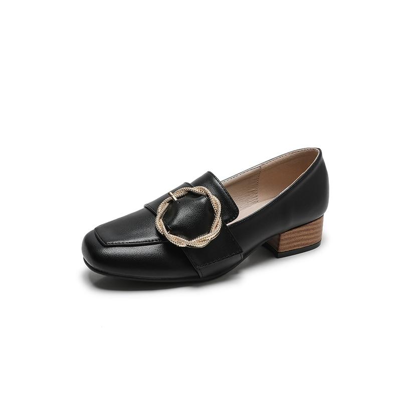 De Britannique Taille Femme Mode Luxe 2018 Plat Chaussures Style Designer Printemps Beige Femmes La Noir noir Plus Métal En Bloc Mocassins Bas Cuir Talons pfwF5qFW71
