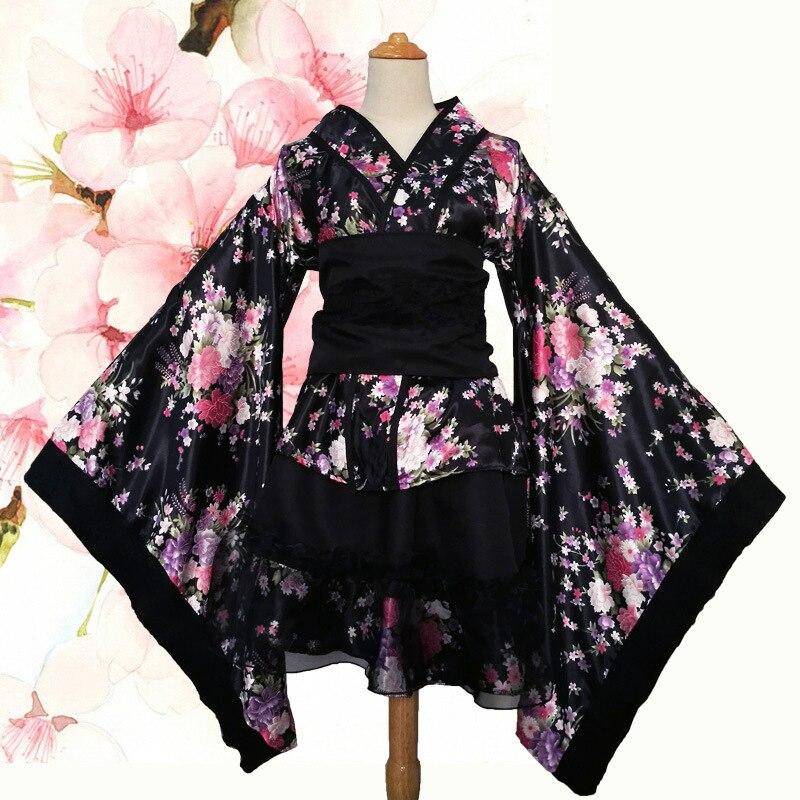 Frauen Sexy Kimono Sakura Anime Kostüm Japanischen Kimono Traditionelle Print Vintage Original Tradition Silk Yukata Kleid S-XXXL