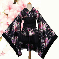 Women's Sexy Kimono Sakura Anime Costume Japanese Kimono Traditional Print Vintage Original Tradition Silk Yukata Dress S XXXL