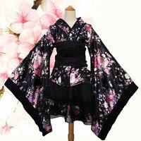 Women's Sexy Kimono Sakura Anime Costume Japanese Kimono Traditional Print Vintage Original Tradition Silk Yukata Dress S XXXL