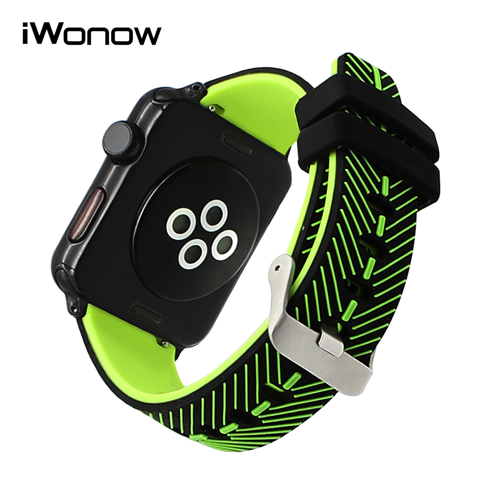 FEATHER Pattern Silicone Watchband for iWatch Apple Watch 38mm 42mm Series 1 & 2 Sport Band Double Color Rubber Belt Wrist Strap