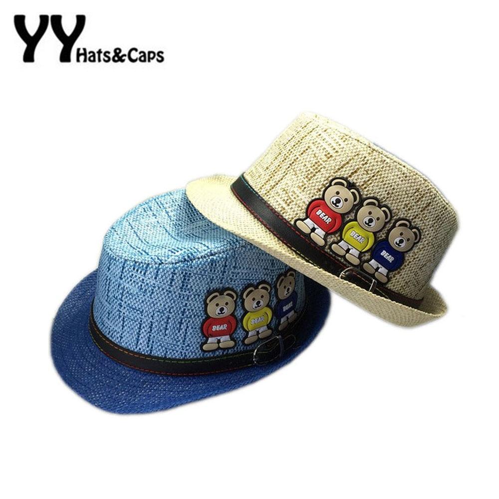 Children Trilby Hat Panama Straw Sun Hat Three Bears with Blet Kids Beach  Sunhat Jazz Caps for Boy Girl Summer UV Hats YY60193 35dcf75dbc9d