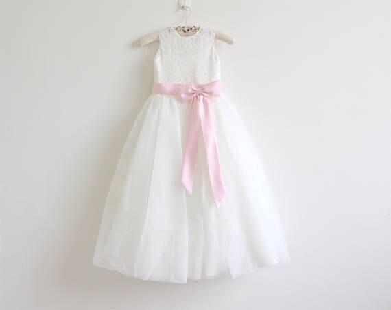 Licht Roze Jurk : Licht ivoor kant bloem meisje jurk baby meisjes jurk kant tule met