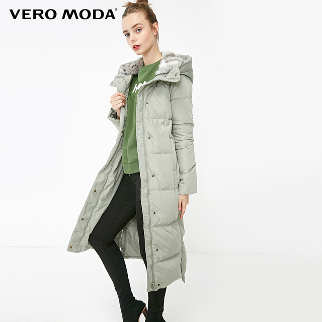 Vero Moda new detachable rabbit fur hooded long down jacket women   318312503 2