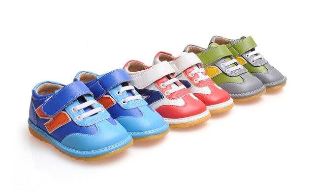 Синий Baby Boy Скрипучий Тапки Обувь Противоскользящие Малыш Малыш Кожаные Ботинки