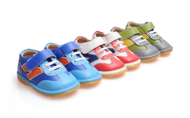Blue Baby Boy Squeaky Sneaker Shoes Nonslip Little Boy Toddler Leather Casual Shoes