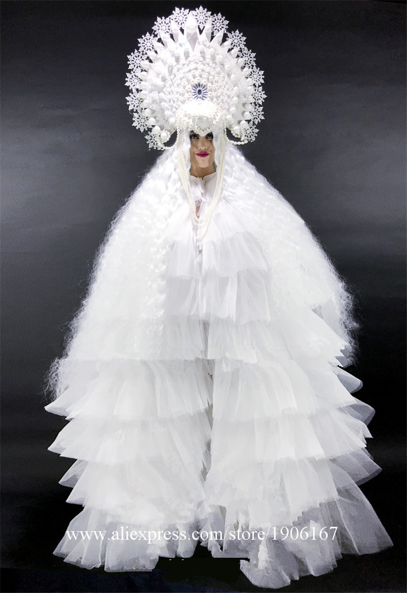 White ladies DS Ice Queen Christmas party costumes9