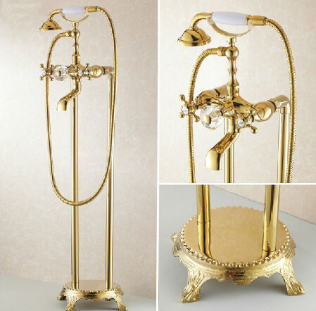 Free Shipping Bathroom Gold Floor Stand Bathtub Faucet Set Telephone Type Bath Shower Mixer Brass Shower set Luxury Bathtub Tap
