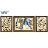 Full diamond painting,190x70CM Lucky Elephant Triptych,Rhinestone Handmade Diamond mosaic,Anima,Diy diamond embroidery