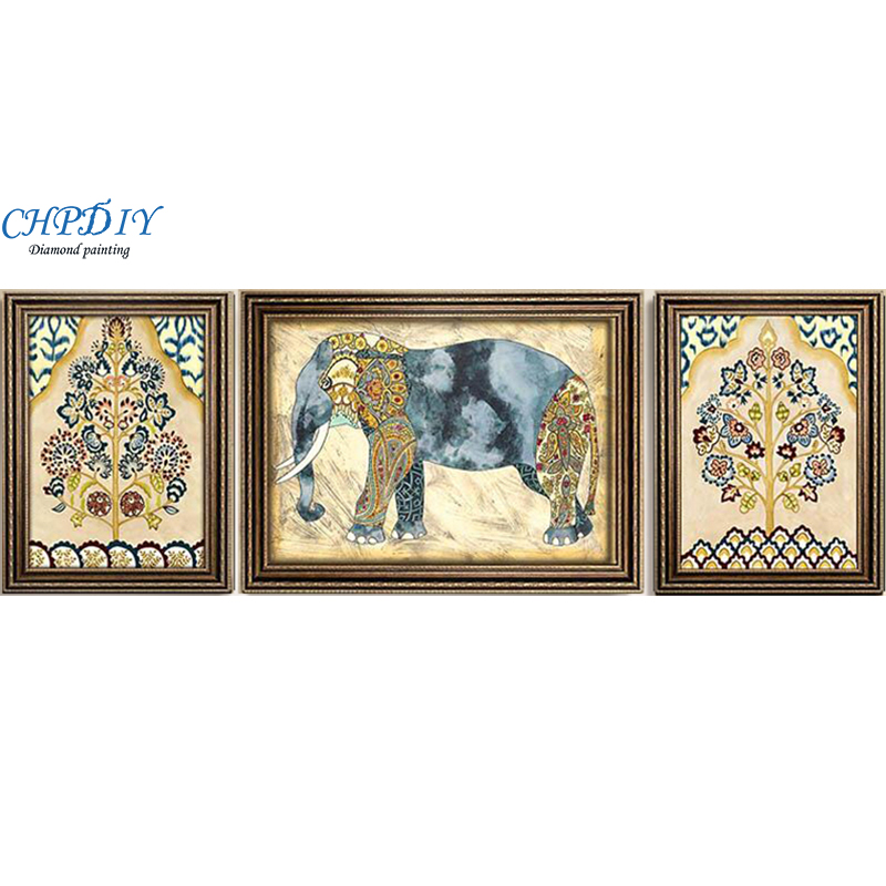 Peinture diamant complète, 190x70CM triptyque éléphant chanceux, mosaïque diamant fait main en strass, Anima, broderie diamant bricolage