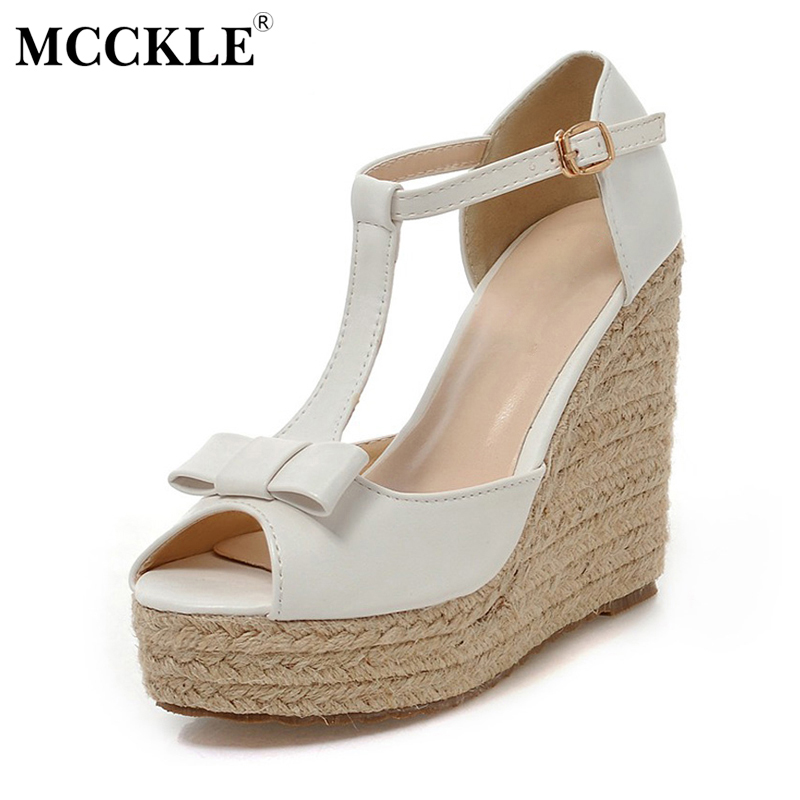 MCCKLE 2017 New Fashion Women Shoes Woman Sandals Wedges Platform Buckle Black Bowtie Summer Peep Toe Casual Comfortable phyanic 2017 gladiator sandals gold silver shoes woman summer platform wedges glitters creepers casual women shoes phy3323
