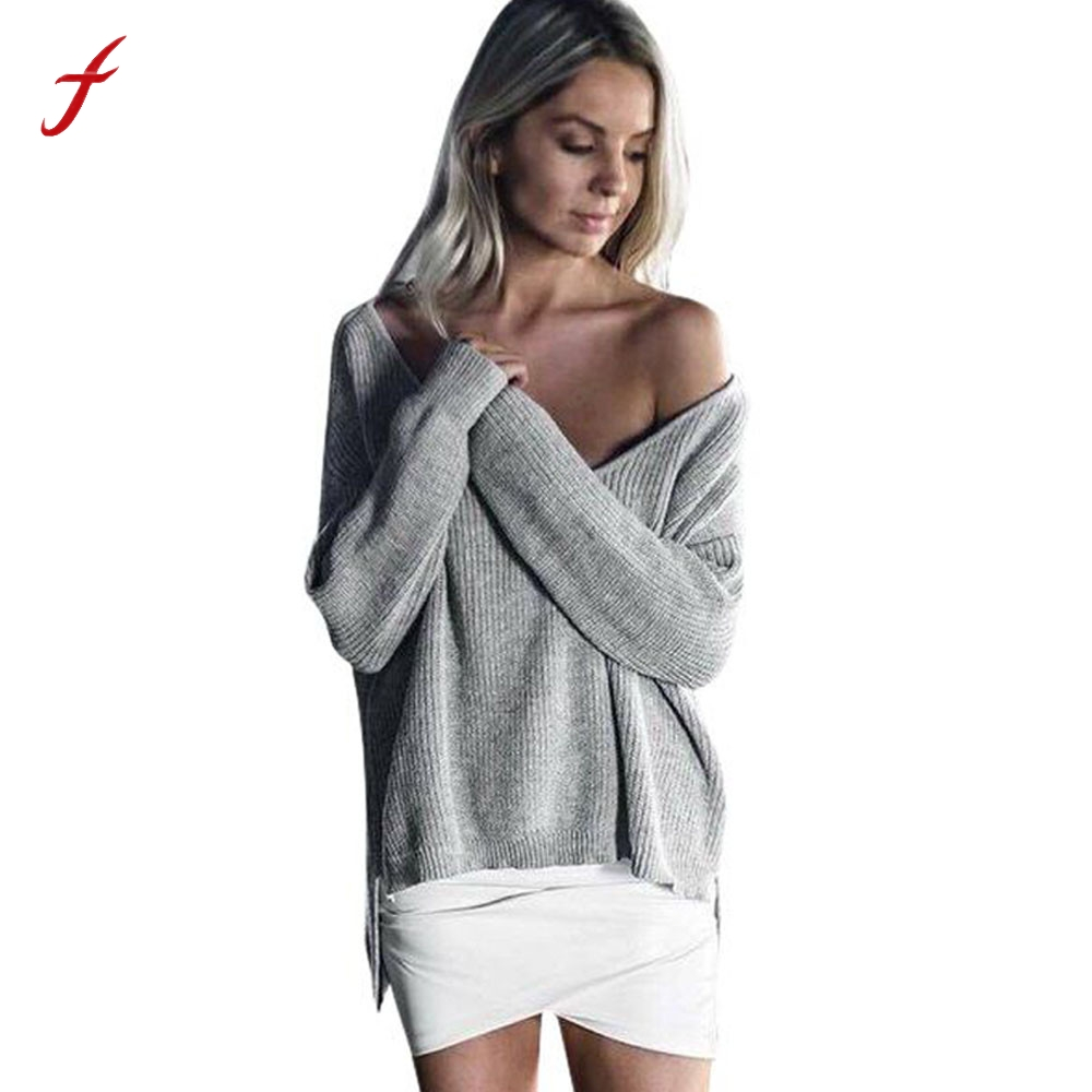 Womens Off Shoulder Long Sleeve Loose Knitted Sweater Casual Jumper Tops Autumn And Winter Fashion Casual Pullover Female 2018