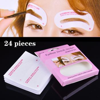 24 pcs/set Eyebrow Template Stickers Make Up Eyebrow Stencils Drawing Card For Eyes DIY Makeup Tools