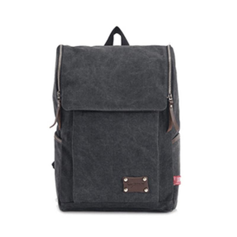 Backpacks Solid Zipper Cover Vintage Canvas Backpack Bag Mochilas Masculinas Rucksack Bagpack School Bags