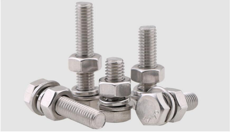 304 stainless steel hex bolt screw nut set M10 M12 M14 M16 Daquan extended screw flat pad spring washer stainless steel spring nutcracker creative nut sheller
