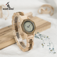 BOBO BIRD Newest WM25 Nature Wood Watch For Women Creative Design Octagon Quartz Watches Gift Box Accept OEM relogio feminino