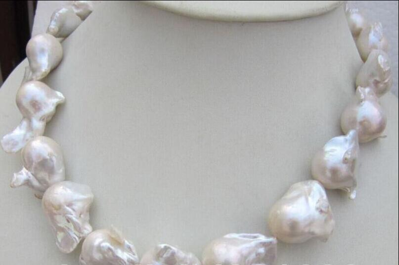 NATURAL HUGE AAA 15-26MM SOUTH SEA WHITE BAROQUE PEARL NECKLACE 18 INCH fast huge 12 13mm natural tahitian south sea white green pearl necklace 18 aaa