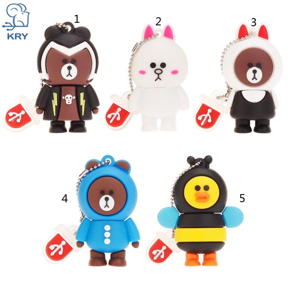 KRY cartoon creative bear / rabbit / bee flash drive high-speed usb3.0 4GB 8GB 16GB 32GB 64GB disk usb2.0 Business Memory Stick