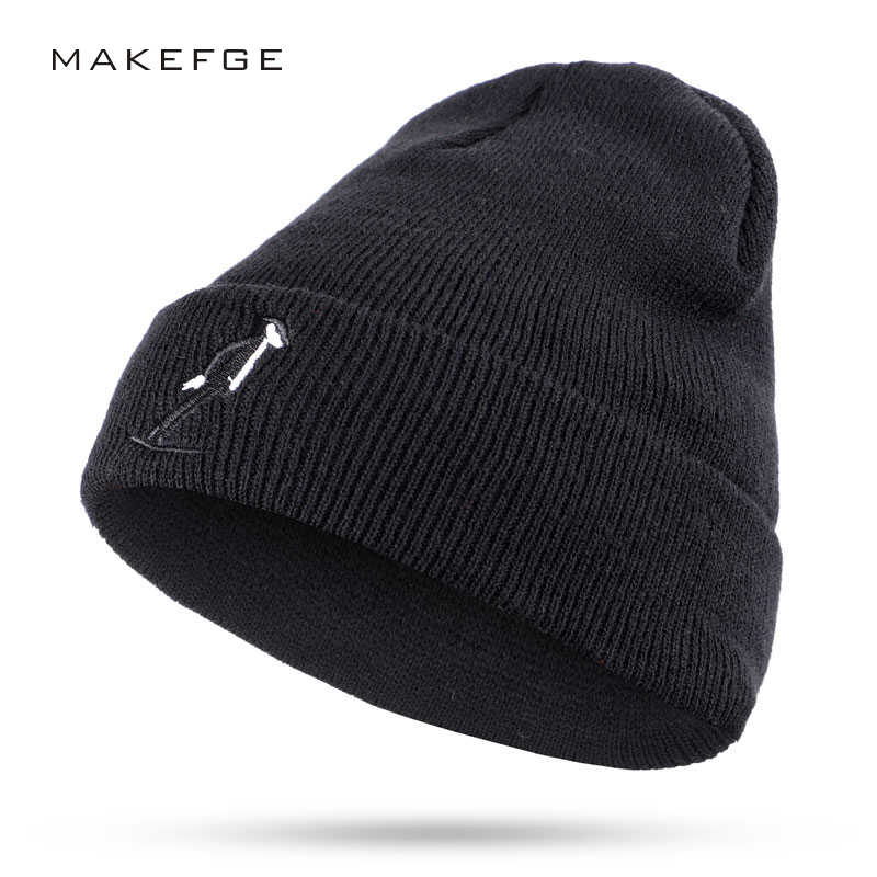 3467c22b670 2018 New Fashion Characters Embroidery Knit Beanie Hat Winter Soft Cap Man  Woman Dance Slouchy Beanies