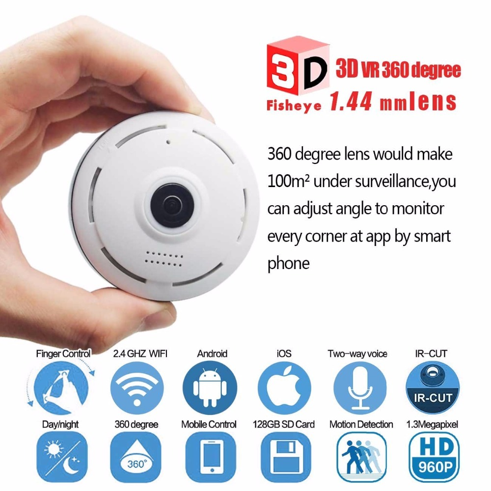 Baby Monitor Mini IP Camera Wi-Fi Wireless Camera Fisheye HD 960P for Home Security or Network CCTV Video Surveillance System