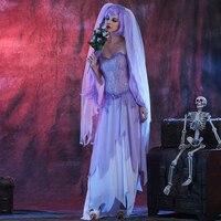 Ladies Bloody The Walking Dead Zombie Bride Horror Halloween Fancy Dress Costume Horror Purple Female Ghost