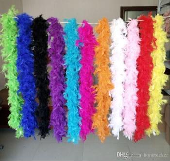 Rosa Chandelle Boa di Piume 200 centimetri Wrap Burlesque Can Can Saloon Sexy Costume Accessorio Turchia Marabù Boa di Piume Molti Colori