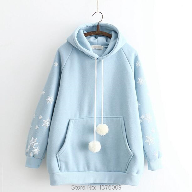 Harajuku Hoodies Lolita Kawaii Fiocco Di Neve Con Cappuccio Pullover