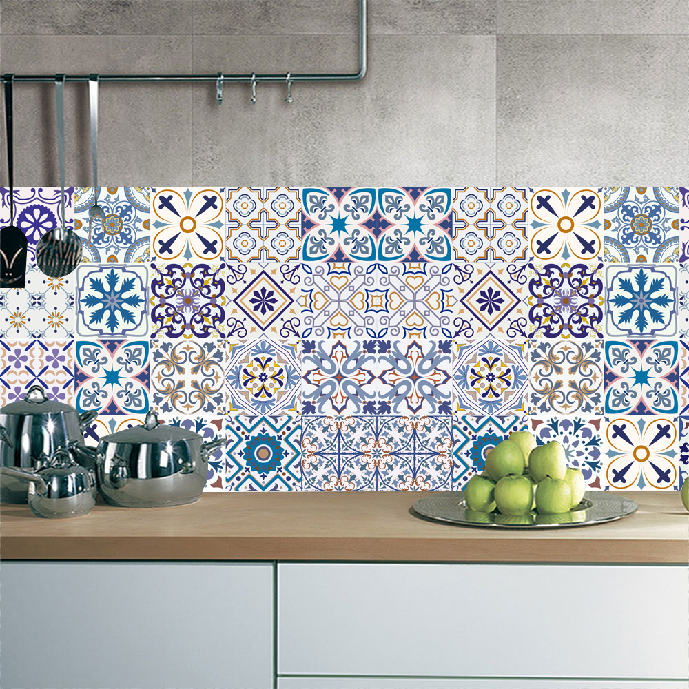 10 15 20 30cm Ethnic Floral Strip Tiles Wall Sticker Kitchen Bathroom Table Home Decor Wallpaper Waterproof Pvc Art Wall Decals Wall Stickers Aliexpress