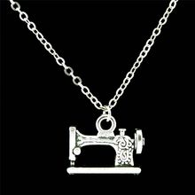 C16X48  Free shipping 17-1 Silver Alloy 15mm Sewing Machine Pendant Short Collar Choker Necklace 18″