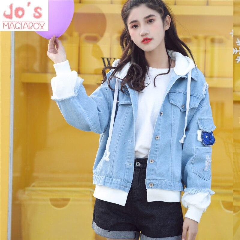 2018 Femmes Veste En Jean Kawill Couture À Capuche Streetwear Harajuku Style Trou Décontracté Dame Jeans Denim Lâche Mignon Veste