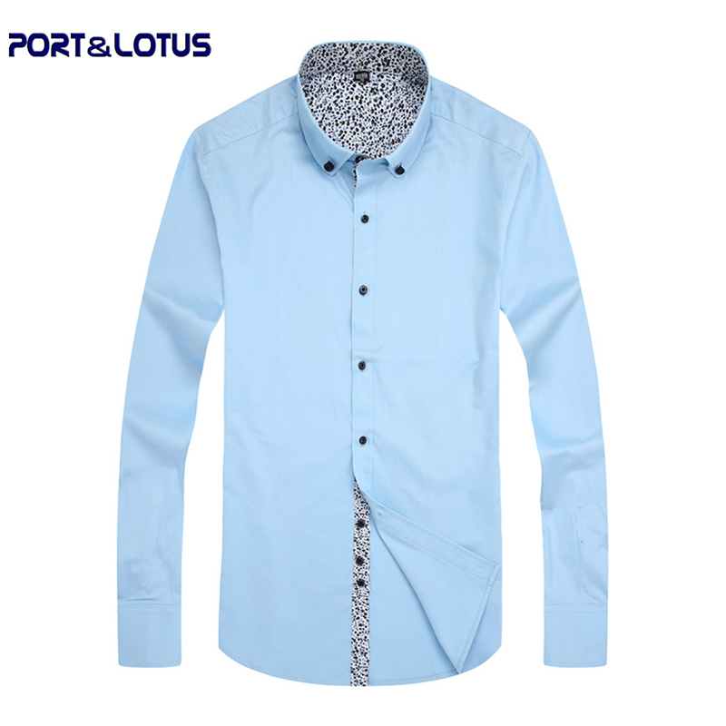 Port Lotus Men 100 Cotton Dress Shirt Pure Color Casual