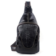 Classic Crocodile Printing Chest Pack Fashion Embossing Trendy Casual Small Leather Bag Men Cowhide Designer