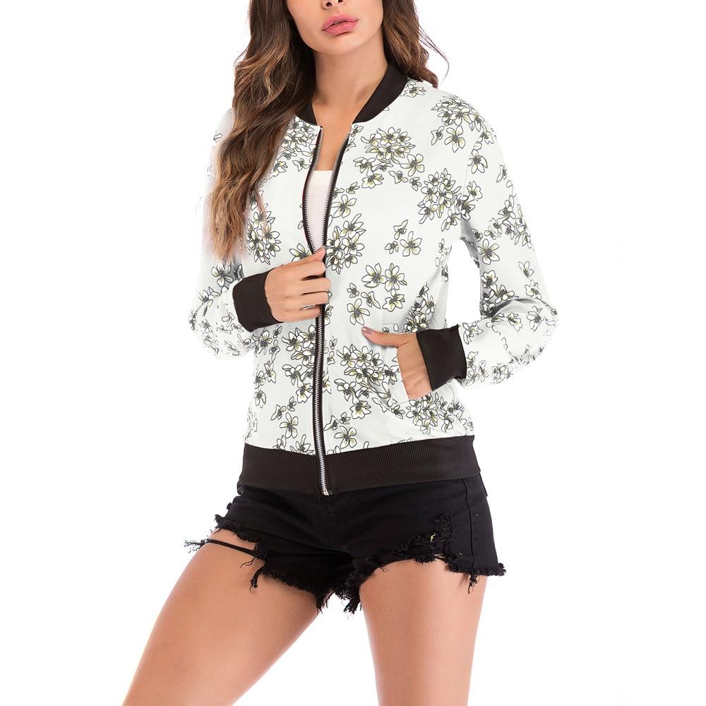 Print Bomber   Jacket   Women Flowers Zipper Up Retro Coat Spring Summer Long Sleeve   Basic   Plus Size Short Biker   Jackets   Female
