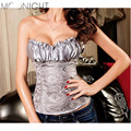 Sexy corselet corset Mulheres Plus Size S-6XL Cetim Overbust Corset Bustier Tops Sey Lingerie corsets